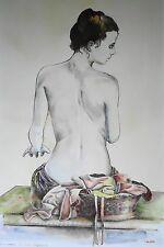 """Walter Falconi, """"Nudo"""", Litografia, 70x50. Ritoccata a mano"""
