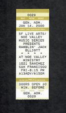 Ramblin' Jack Elliott 2000 Noe Valley Ministry San Francisco Concert Ticket Stub