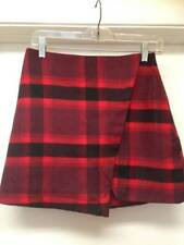 Abercrombie & Fitch Red & Black Plaid Wool Blend Mini Skirt Sz 2 NEW NWOT