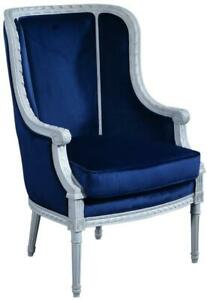 BERGERE CHAIR LOUIS XVI FRENCH HAND-CARVED VENETIAN WHITE WOOD BLUE VELVE