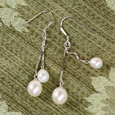 Fresh Water White Earrings Pearl 925 Sterling Silver Wedding French Wire Dangle