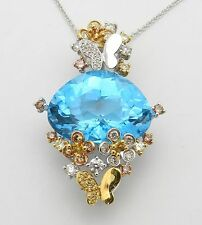 "18K White Gold Diamond Blue Topaz Butterfly Flower Necklace Pendant Chain 18"""