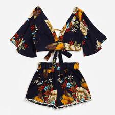 Summer 2pc/set Womens Botanical Print V Collar Top Shorts Beachwear Dress L