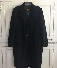 RARE Antique Men's Marshall & Reed 100% Cashmere Black Lined Overcoat Coat 42R