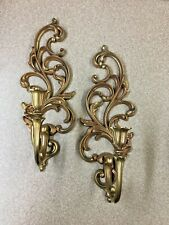 Pair of Vintage Syroco Ornate Gold Flowers Wall Sconces Candle Holders 2