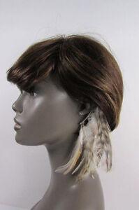 New Women Fashion Silver Metal Cuff One Earring Pink Orange Blue White Feathers