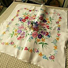 VINTAGE HAND EMBROIDERED TABLECLOTH=BEAUTIFUL VIBRANT FLORAL BOUQUETS