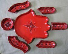 Hand Of Fatima Ceramic  Dish red 7 pieces