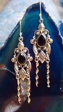 Ohrring Ohrhänger Antik Stil Onyx schwarz Stein d Steinbock Sterling Silber 925