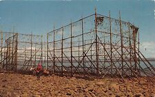 BAY OF FUNDY NOVA SCOTIA CANADA FISH WEIR AT LOW TIDE POSTCARD 1960s