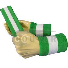 Couver Bright Green White Strip Headband Wristband Set