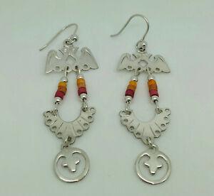 Gorgeous Vintage Native American Sterling Silver Bird Ornate Long Drop Earrings