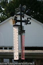 "WEATHERVANE STATION 56"" w/ pole thermometer rain gauge wind spinner weather vane"
