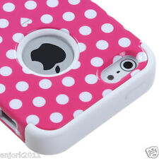 APPLE iPhone 5 T ARMOR HYBRID SNAP ON CASE SKIN COVER ACCESSORY PINK/WHITE DOTS