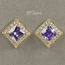 EARRINGS STUD 9CT SOLID YELLOW GOLD MADE WITH SWAROVSKI CRYSTAL 8MM PURPLE 2CT