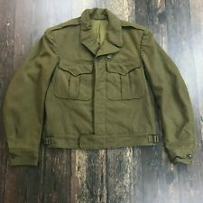 VTG ARMY Regulation Officers Jacket S/M WWII Heavy Cropped Military Coat Green