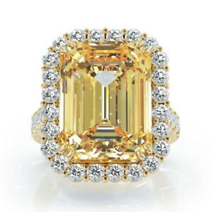 14k Yellow Gold over 925 Sterling Silver Yellow Emerald Halo Diamond Ring Women