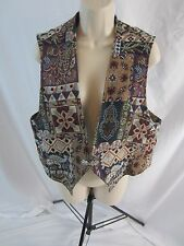 Longhorn Western Multi-Color Fabric Vest - Women's Large - Made in USA - 0293