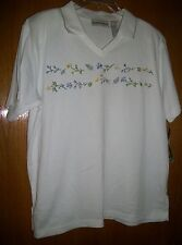 Women's Donnkenny Casuals Short Sleeve Embroidered Floral Shirt Sz L