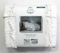 Simply Shabby Chic 2-Pc White Ruffle Lace Mesh Duvet Cover Sham Set Size Twin