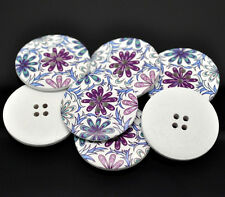 5 Wooden LARGE Purple & Blue Flower Buttons 40mm cards