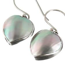 "9/16"" HEART BLUE ABALONE SHELL 925 STERLING SILVER earrings"