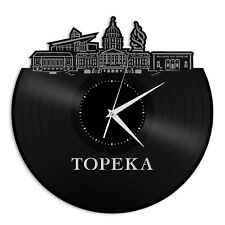 Topeka KS Vinyl Wall Clock Skyline Exclusive Design Gift Home Room Decoration