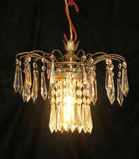 Vintage Hollywood waterfall Fountain Tole brass SWAG lamp crystal chandelier plg