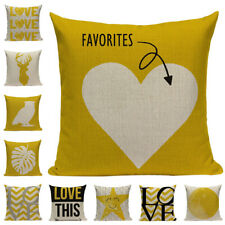 Yellow Pillow Case Sofa Car Waist Throw Bench Cushion Cover Home Bed Decoration
