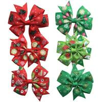 Christmas Pet Dog Cat Hair Clips with Big Bowknot Dog Girls Grooming Bows