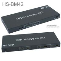 HDMI 4x2 Matrix w/ IR Remote Control Extension & Audio Out, 3D Support