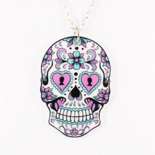 SUGAR SKULL NECKLACE cute mexican day of the dead tattoo rockabilly vintage