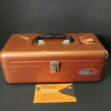 Vintage Sears And Roebuck Co. Metal Tackle Box  * fish handle * 1 Tray * 13 1/2""