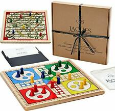Jaques of London Snakes and Ladders Ludo on a Solid Wooden Reversibl