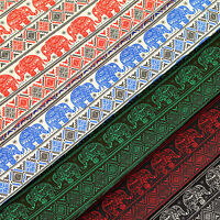 Cotton Fabric FQ Indian Elephant Cartoon Tribe Aztec Ethnic Stripe Quilting VS11