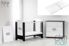 Babybett Kinderbett 120x60 Holz Gitterbett mit Matratze GRATIS schwarz ekmTRADE