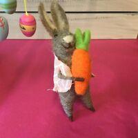 Felt Wool Easter Bunny Figure Decoration Rabbit Gisela Graham Holding Carrot