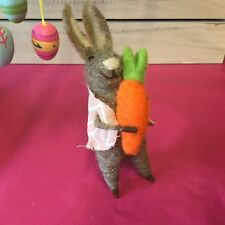 Felt Wool Easter Bunny Figure Decoration Rabbit Gisela Graham Holding Carrot