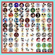 100 Precut assorted Disney MICKEY MOUSE BOTTLE CAP IMAGES Variety 1 inch discs
