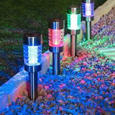 6 PACKS MULTI COLORED STAINLESS STEEL SOLAR GARDEN TUBE PATH LIGHTS