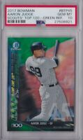 2017 BOWMAN CHROME AARON JUDGE SCOUTS 100 GREEN REFRACTOR /99 ROOKIE CARD PSA 10