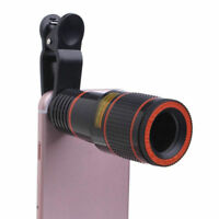 Clip-on 8x Optical Zoom HD Telescope Camera Lens For Mobile Phone Black Newly