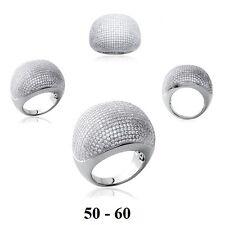 Grosse Bague Rhodié T52 Diamant Cz Micro-Sertie Argent Massif 925 Dolly-Bijoux