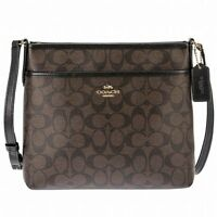 NWT Coach F29210 Signature Coated Canvas Crossbody File Bag Brown Black $225
