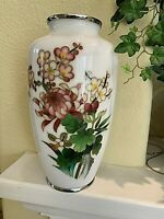 Japanese Cloisonne Silver Wire Vase - White ground, Floral Design. 8.5x4.5""