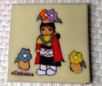 Vintage N DEGRAZIA Ceramic Tile Art Trivet Zuni Princess Southwest American