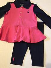 NWT New Girls RALPH LAUREN POLO Pink Blue Outfit Set 9 Mths Holiday Hot Item $59
