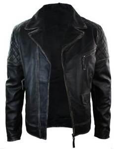 Mens Marlon Brando Biker Motorcycle Vintage Distressed Black Leather Jacket