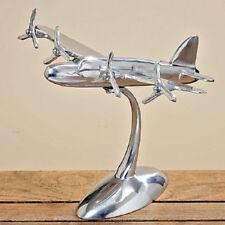 Skulptur FLUGZEUG Modell silber Aluminium 33 x 43 cm Schreibtisch Dekoration NEU