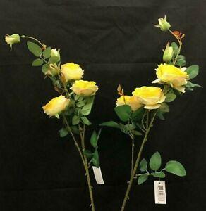 "Austin Rose Flower Spray Stem~Set of 2~Yellow, Green~Silk/Artificial~36"" T"